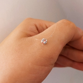 Colier fir transparent cu Cristal Swarovski Clear 4mm  -  REGLABIL